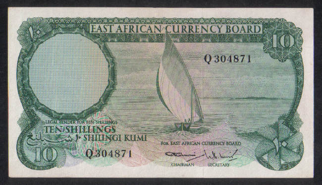 10 Shillings East African 2+
