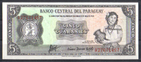 5 Guaranies l.1952 Paraguay Pick 195b unc  2,00 EUR