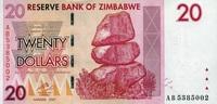 20 Dollars 2007 Zimbabwe Pick 68 unc  1,50 EUR  +  8,50 EUR shipping