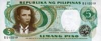 5 Piso ND(1969) Philippines P.143b unc/kassenfrisch  1,50 EUR  +  8,50 EUR shipping