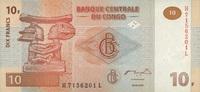 10 Francs 30.6.2003 Congo-Dem.Republik P.93 unc/kassenfrisch  1,10 EUR  zzgl. 3,95 EUR Versand