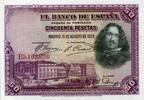 50 Pestas 15.8.1928 Spanien P.75b unc/kassenfrisch  24,00 EUR  +  10,50 EUR shipping