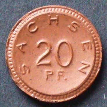 braunes Porzellan, Meissen / Sichel und Ähren Sachsen 20 Pfennig 1921