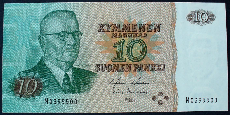 P 111 a / Serie M0395500 Finnland 10 Markkaa 1980