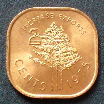S 22 / Bro / Fao / Sobhuza Ii Nadelbäume Swasiland 2 Cents 1975 Bronz