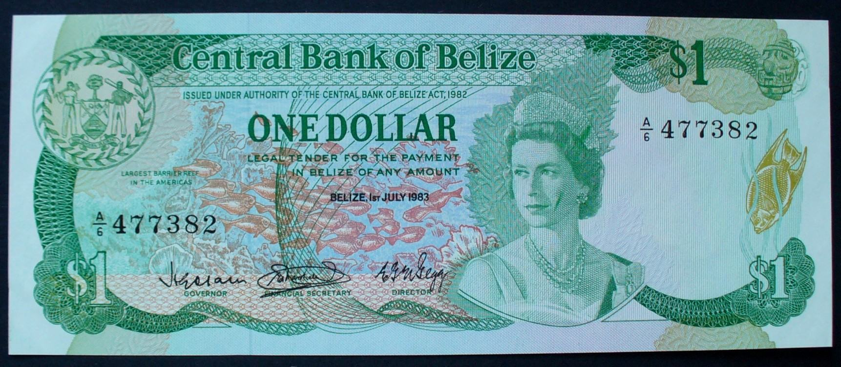 1 Dollar 1.7.1983 Belize P. 43 / Serie A/6 477383 kfr