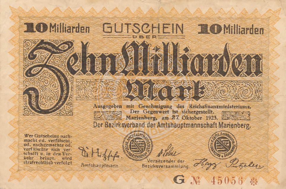 Deutsches Reich,Sachsen, Marienberg/Sachsen, Amtshauptmannschaft, 10 Mrd.Mark 1923 stark gebraucht IV