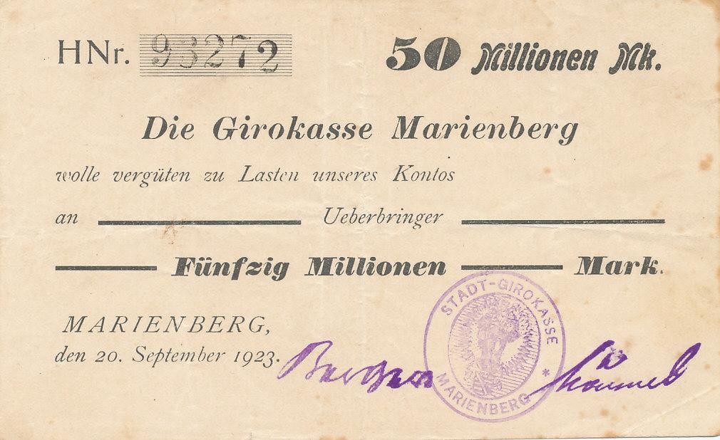 Deutsches Reich,Sachsen, Marienberg/Sachsen, Girokasse, 50 Mio. Mark 1923 gebraucht III