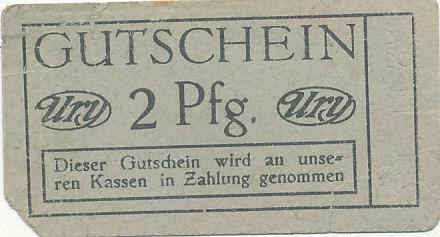 Deutsches Reich,Sachsen, Zwickau/Sa.,Ury Kaufhaus, 2 Pfennig  stark gebraucht V, kleine Fehlstelle,