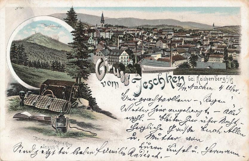 Jeschken bei Reichenberg Österreich, Böhmen Ansichtskarte 1896