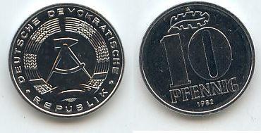 Ddr Deutschland 10 Pfennig 1982