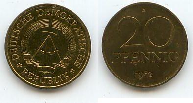 Ddr Deutschland 20 Pfennig 1982