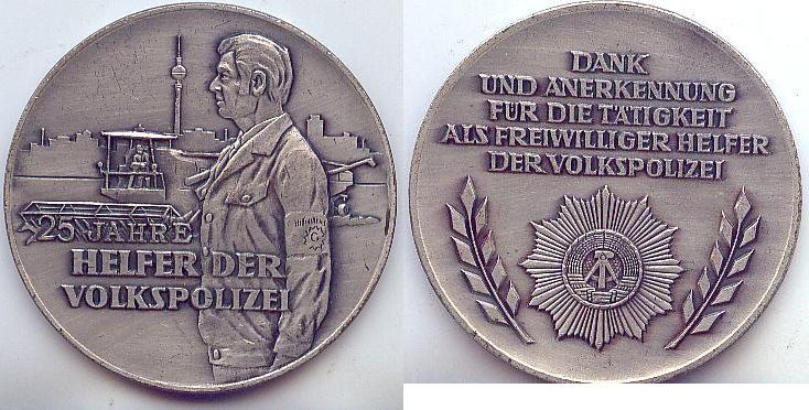 Helfer der Volkspolizei, 25 Jahre Ddr Buntmetall 60mm