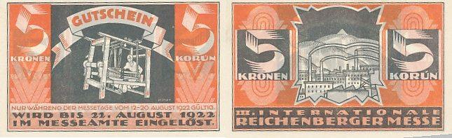 Reichenberg, Messe Böhmen 5 Kronen bis 22 August 1922