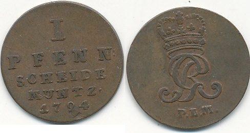Braunschweig Lüneburg Altdeutschland 1 Pfennig 1794