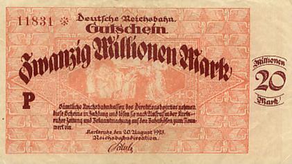 Deutsche Reichsbahn, Reichsbahndirektion Karlsruhe Deutschland 20 Mio