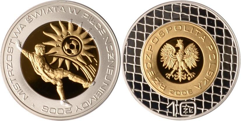 Polen, 10 Zlotych, Fußball-wm Deutschland, 2006, Pp teilvergoldet Sil
