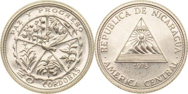Nicaragua, 20 Cordobas, Staatswappen mit Friedenstaube, 1975, st Silb