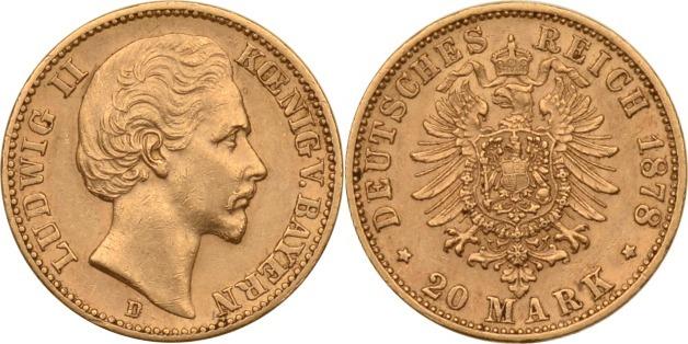 Bayern, 20 Mark Gold, Ludwig Ii , 1878, ss/vz, seltener Jahrgang Kais