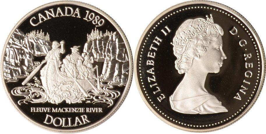 Kanada, 1 Dollar, Mackenzie River, 1989, Pp Silber
