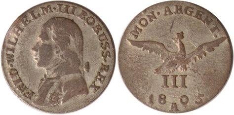 Brandenburg-preussen, 3 Kreuzer, Friedrich Wilhelm Iii , 1805, ss/vz