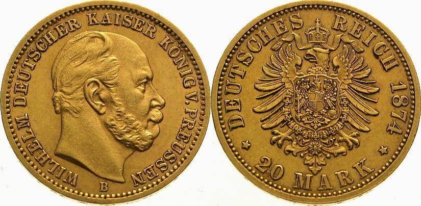 Wilhelm I 1861-1888 Preußen 20 Mark Gold 1874 B