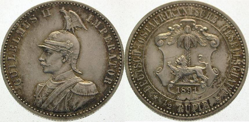 Deutsch Ostafrika 1/2 Rupie 1891
