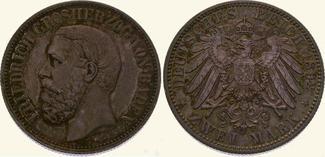 2 Mark 1892 G Baden Friedrich I. 1856-1907...