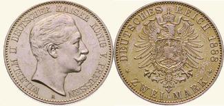2 Mark 1888 A Preußen Wilhelm II. 1888-191...
