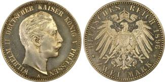 PCGS certified 2 Mark 1896  A Preußen Wilh...