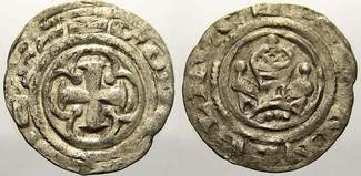 Denar 1187-1220 Pommern Bogislaw II. und K...