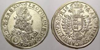 6 Kreuzer 1673 Haus Habsburg Leopold I. 16...