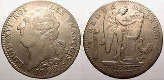 Ecu de 6 livres 1792  A Frankreich Constit...