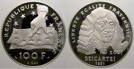 Frankreich 100 Francs (15 Ecus) Fünfte Republik seit 1958.