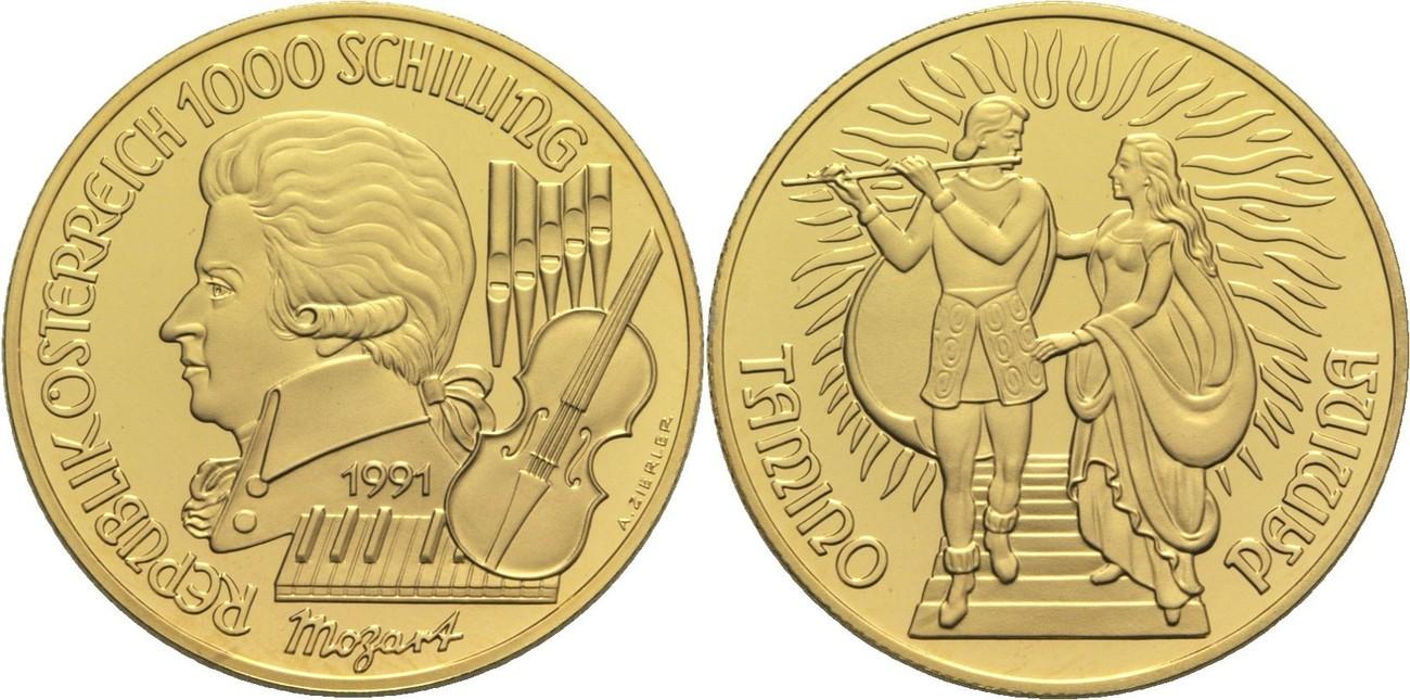 Ii Republik Österreich 1000 Schilling 1991 Gold