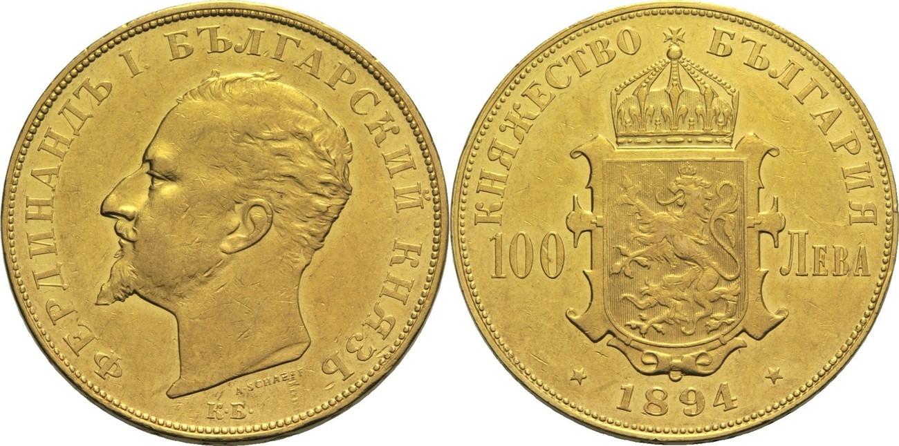 Ferdinand I Bulgarien 100 Lewa 1894 Gold
