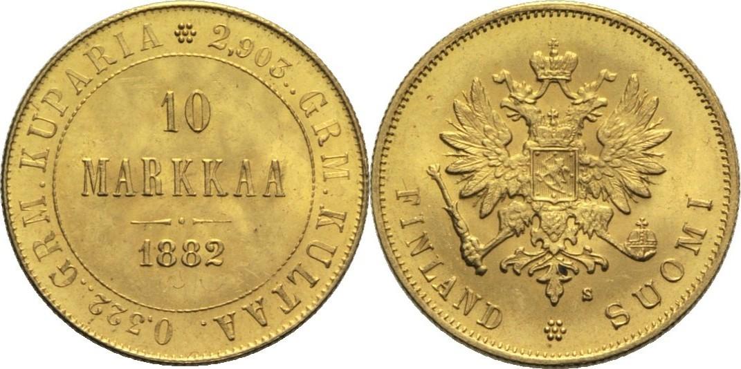 Alexander Iii Finnland 10 Markkaa 1882 Gold