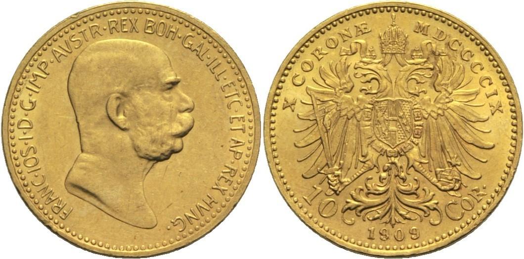 Franz Josef I Österreich 10 Kronen 1909 Gold
