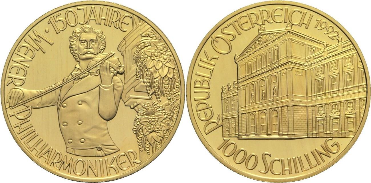 Ii Republik Österreich 1000 Schilling 1992 Gold