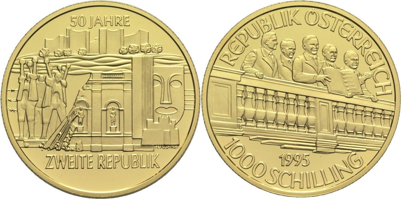 Ii Republik Österreich 1000 Schilling 1995 Gold