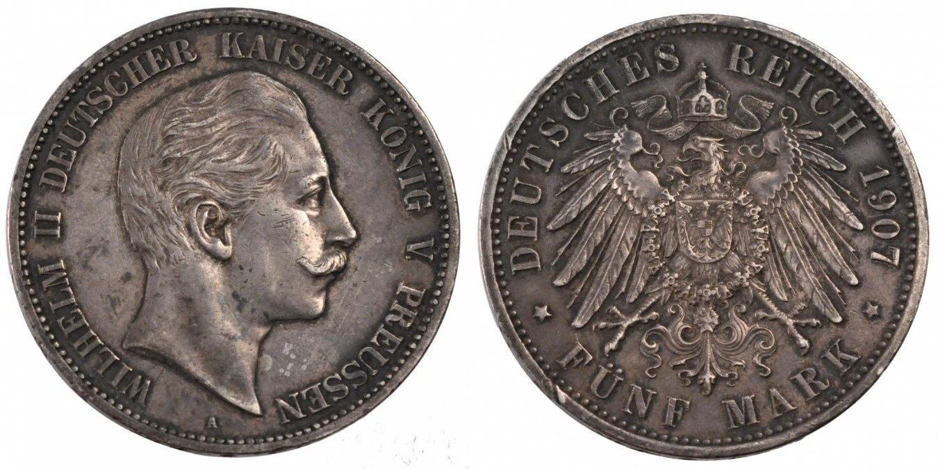 Foreign Coins Münzen Germany, Prussia, Wilhelm Iith, 5 Mark, Deutschl