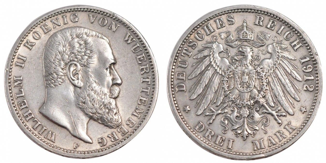 Foreign Coins Münzen Germany, Wurttemberg, Wilhelm Ii, 3 Mark, Deutsc