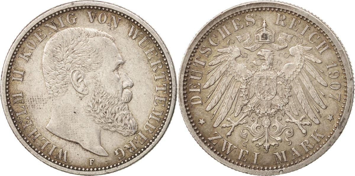 Foreign Coins Münzen Allemagne, Wurttemberg, Wilhelm Ii, 2 Mark 1907