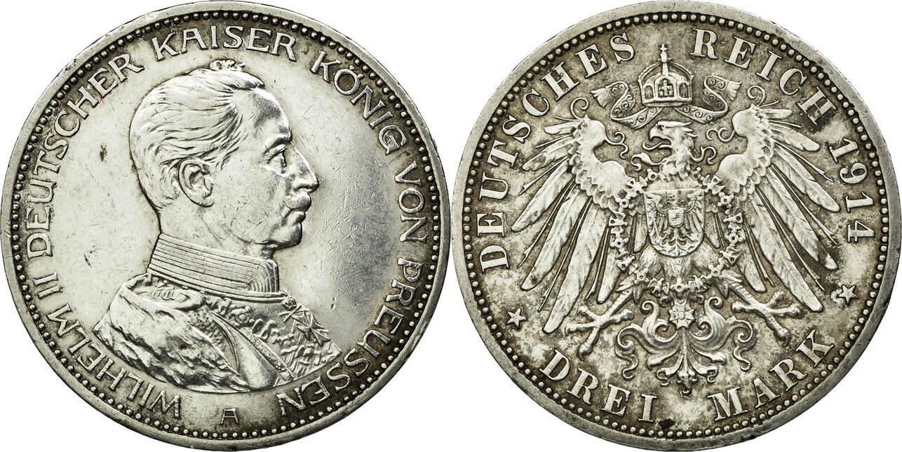 Foreign Coins Münzen Wilhelm Ii, Germany, Prusse, 3 Mark, Deutschland