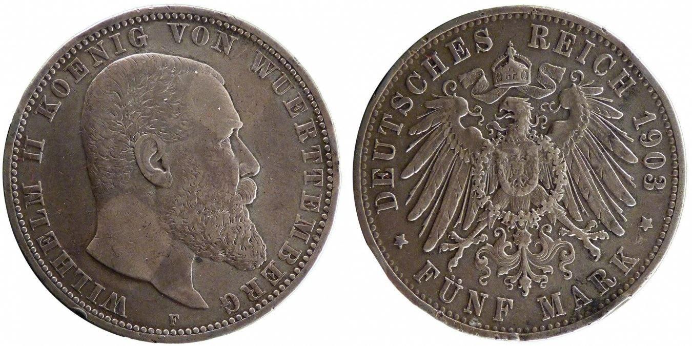 Foreign Coins Münzen Wilhelm Ii, Germany, Wurttemberg, 5 Mark, Deutsc
