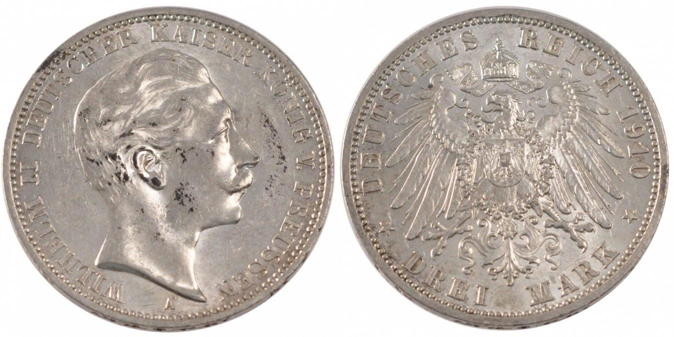 Foreign Coins Münzen Germany, Prussia, Wilhelm Ii, 3 Mark, Deutschlan
