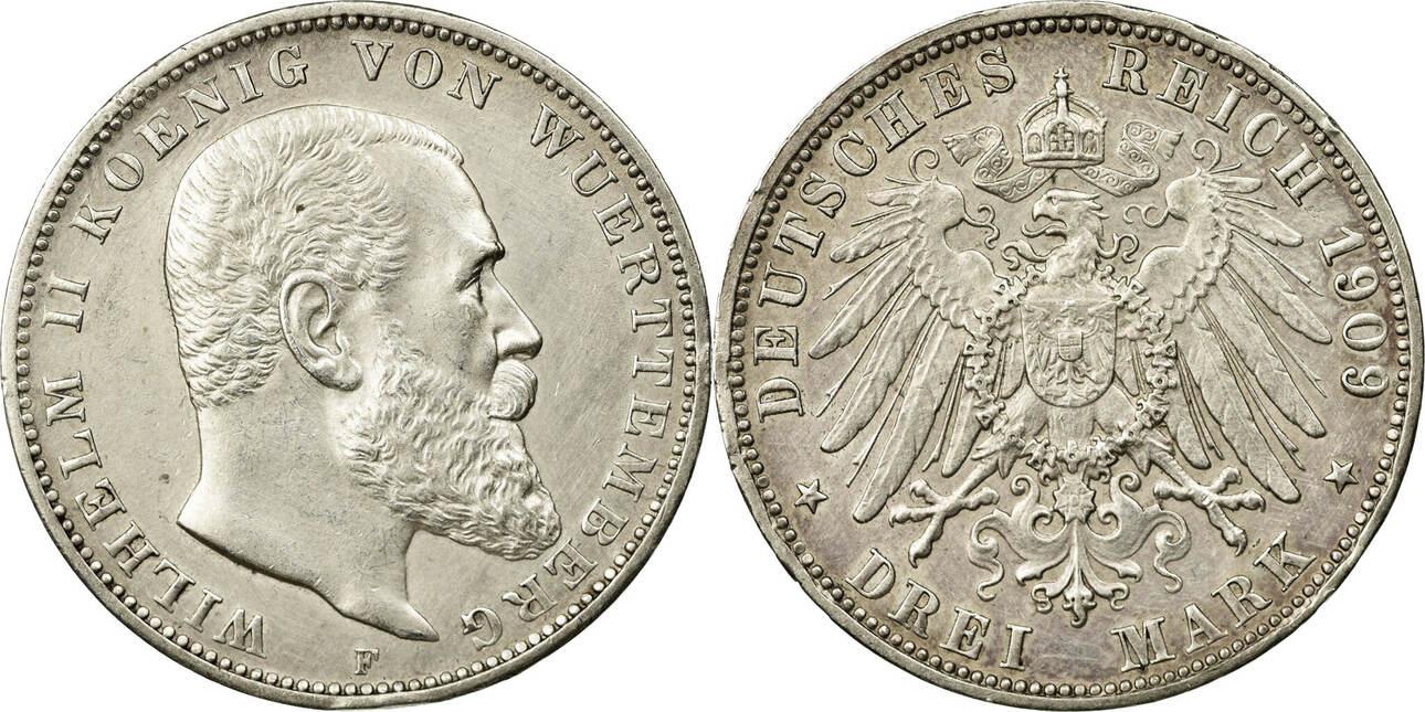 Foreign Coins Münzen Allemagne, Württemberg, Wilhelm Ii, 3 Mark 1909