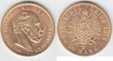 20 Mark GOLD 1876 A Preußen Wilhelm I. 186...