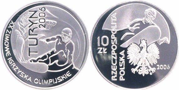 Winterolympiade Turin Polen 10 Zloty Silber 2006