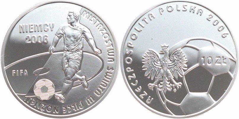 Fußball-wm in Deutschland Polen 10 Zloty Silber 2006